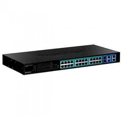 trendnet 24-port 10-100mbps web smart poe switch with 4 gigabit
