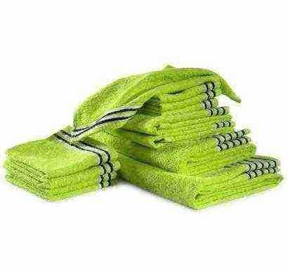 trident set of 12 lime green cotton towels
