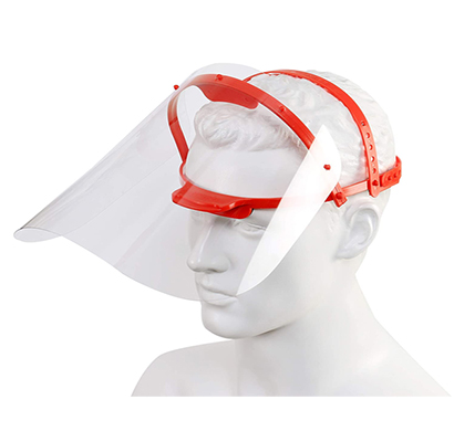 value cart face shield-titling,visor with 2 sided peel off layer,(red color) (pack of 3)