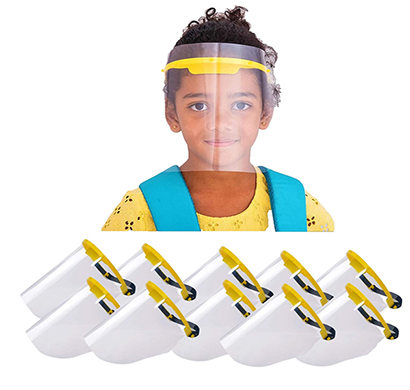 value cart safety kids face shield, visor with 2 sided peel off layer, (pack of 10)