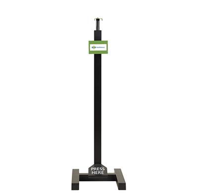 value cart manual hand sanitizer dispenser stand, touch less foot operated hand sanitizer stand, h type - (pedal mechanism, height adjustable)