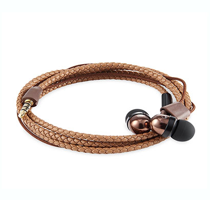 zoook (zk-zm-rok-wbd-br) wristband in-ear wired earphones with mic (brown)