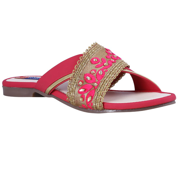 ADEERA Faux Leather Embroidered TPR Women Slide Sandles
