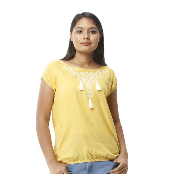 Advik Women's Round Neck Printed Top (Yellow)