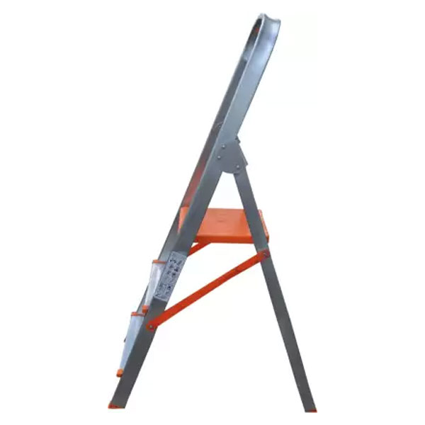 AGUERRI 3 Step Foldable Aluminium Ladder with Platform for Home Use (Silver)