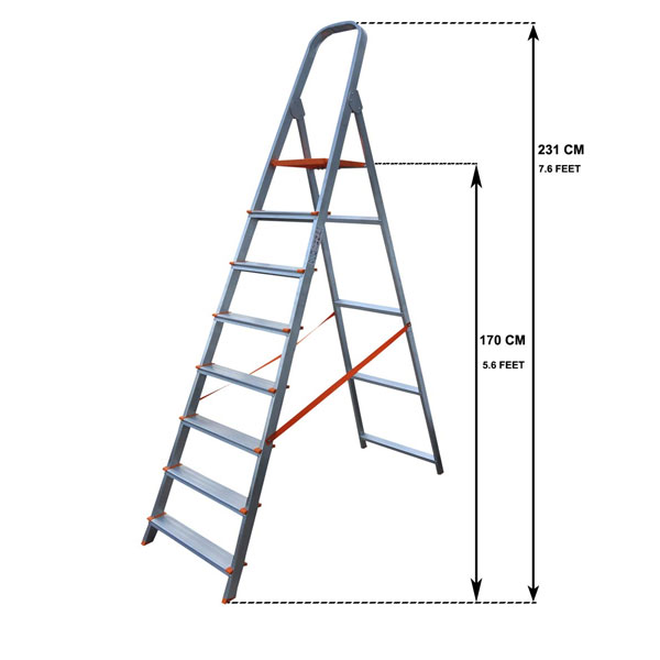 AGUERRI 8 Step Foldable Aluminium Ladder with Platform,(Silver)