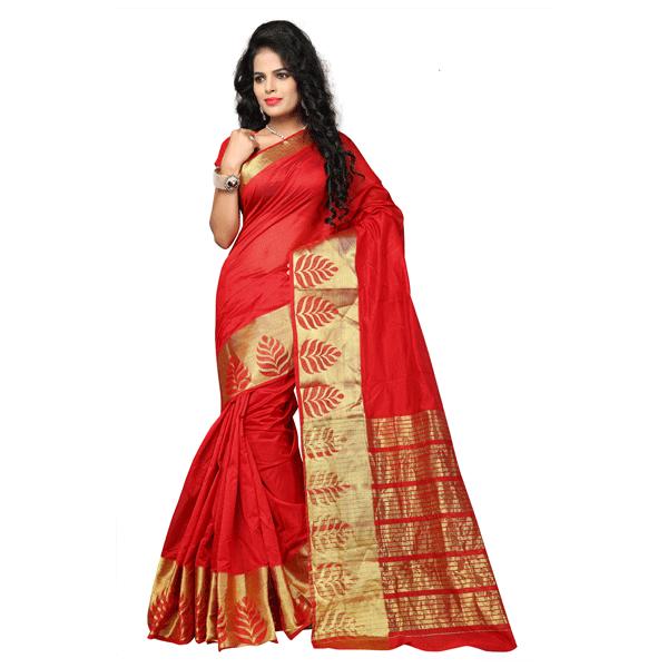 Dhyana Banarasi Style Woven Zari Work Cotton Silk For Women's Red