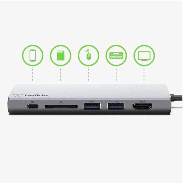 Belkin F4U092BTSGY USB-C Multimedia Hub With Tethered USB-C Cable