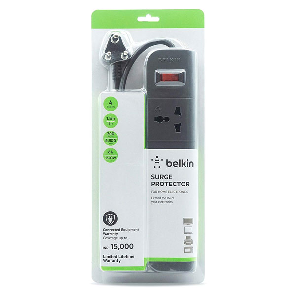 Belkin (F9E400zb1.5MGRY) Essential 4-Socket Surge Protector
