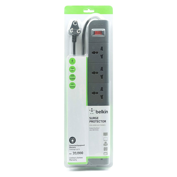 Belkin (F9E600ZB2MGRY) Essential 6-Socket Surge Protector