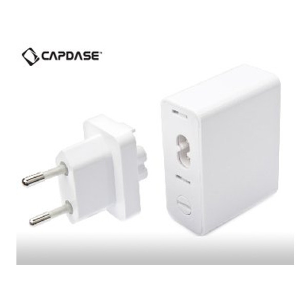 Capdase (ADCB-AR02) Dual USB Power Adapter Ampo R2 -World Plugs For iPad/iPhone/iPod (White)