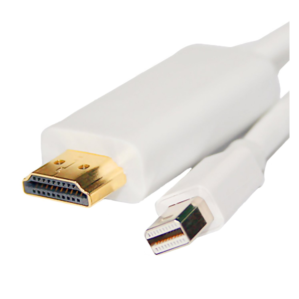C&E- CNE63676, 6 feet mini Display port to HDMI male, White, 3 Month Warranty