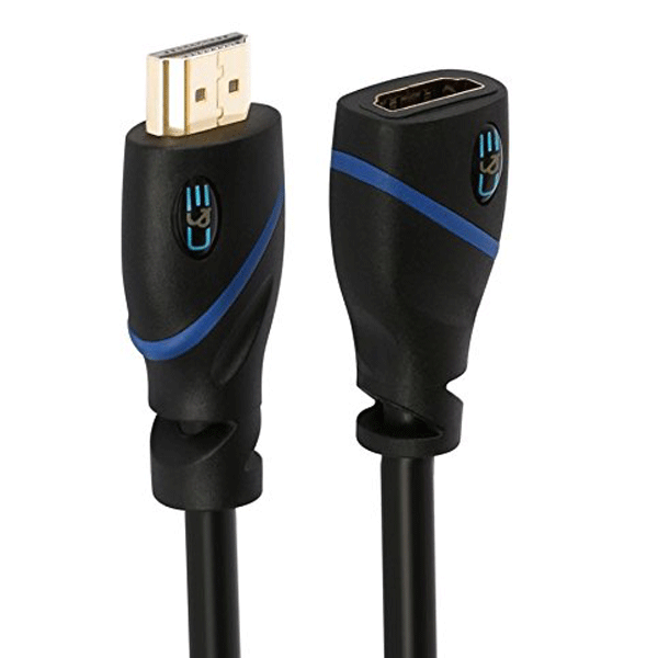 C&E High Speed HDMI Extension Cable Male to Female, 12 Feet, Supports Ethernet, 3D and Audio Return Black