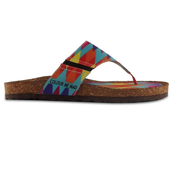 Colour Me Mad Printed Natural Cork All Weather, Women Sandals (Multi Colour)