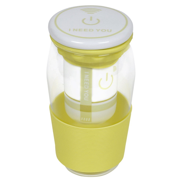 COSMOSGALAXY Green Tea Mug with Strainer, Ceramic Lid and Silicon Sleeve, Yellow