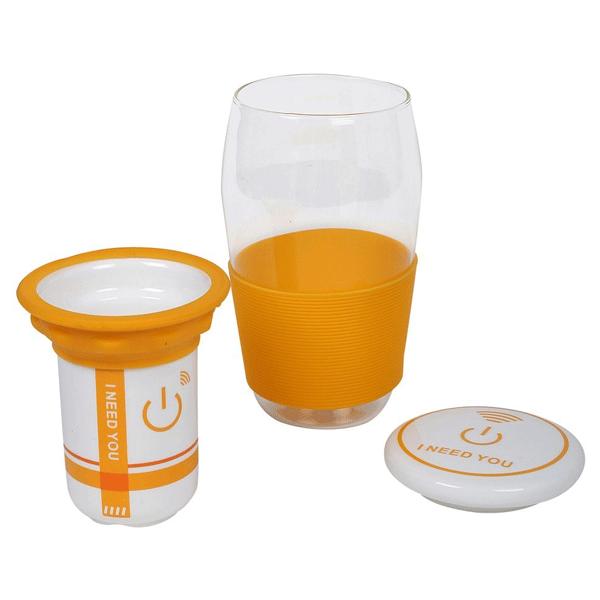 COSMOSGALAXY Green Tea Mug with Strainer, Ceramic Lid and Silicon Sleeve, Orange