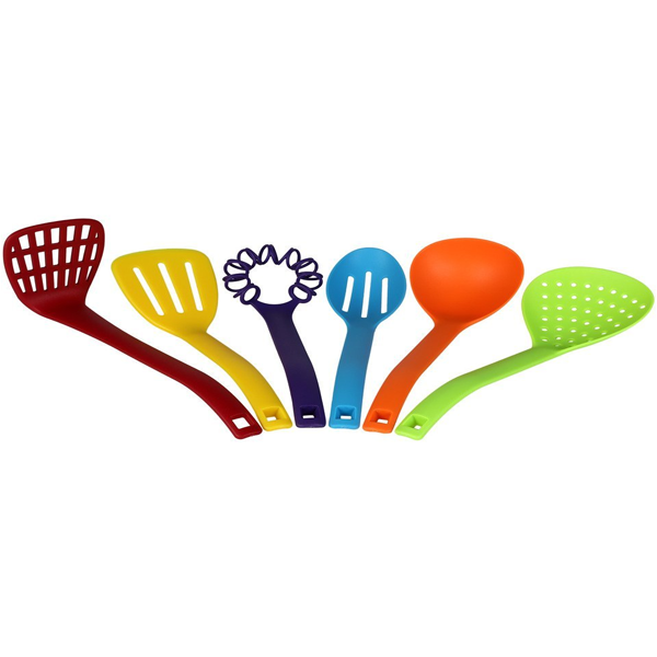 Cosmosgalaxy I3336 Kitchen Nylon Colorful Cooking Spoon and Tools, Set of 6 Pcs, Multicolor