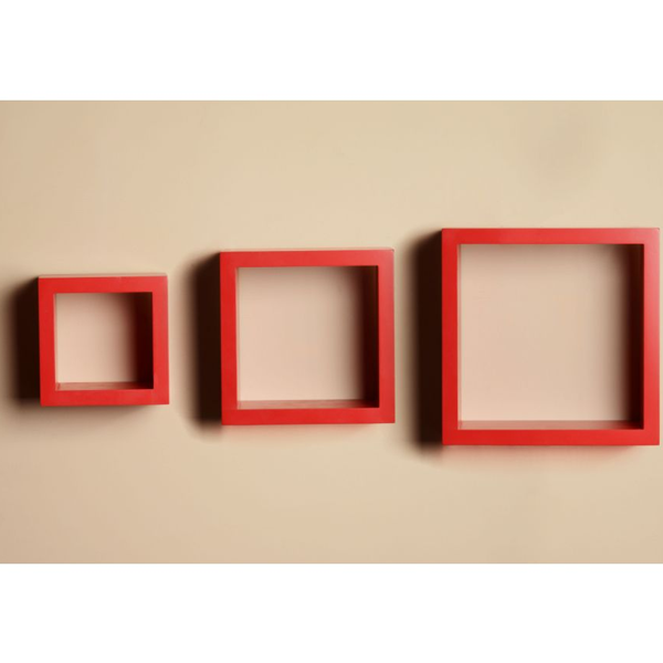 Cosmosgalaxy I2381 Wooden Wall Shelves Set of 3, Red