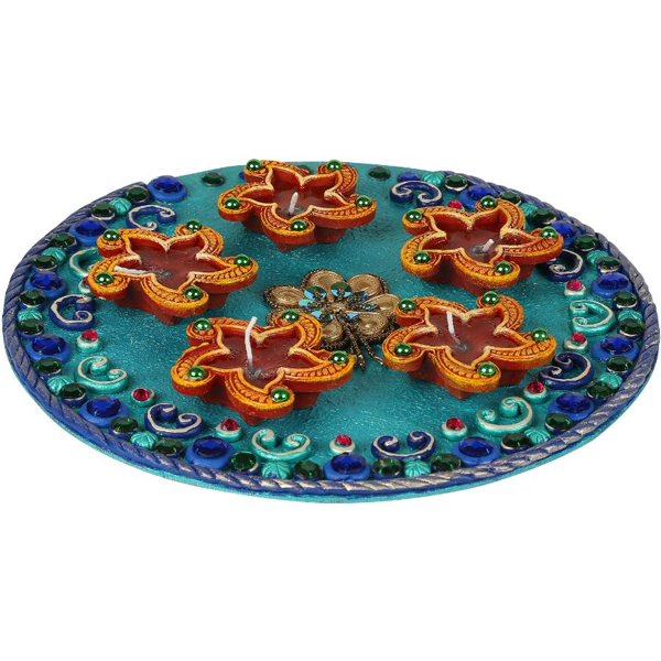 Cosmosgalaxy I3278 Handicraft Decorative Diwali Diya Pooja Thali, Blue and Brown