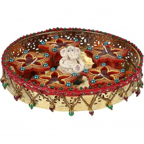 Cosmosgalaxy I3279 Handicraft Decorative Diwali Diya Pooja Thali, Multi-Color