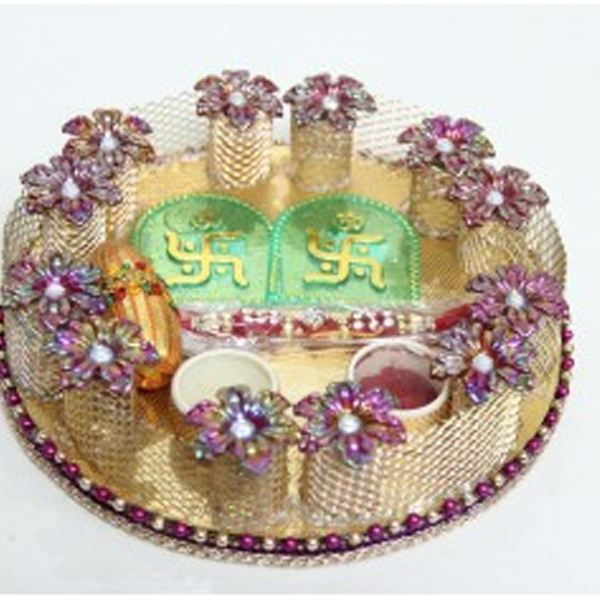 Cosmosgalaxy I3382-B Handicraft Rakhi Thali, Gold