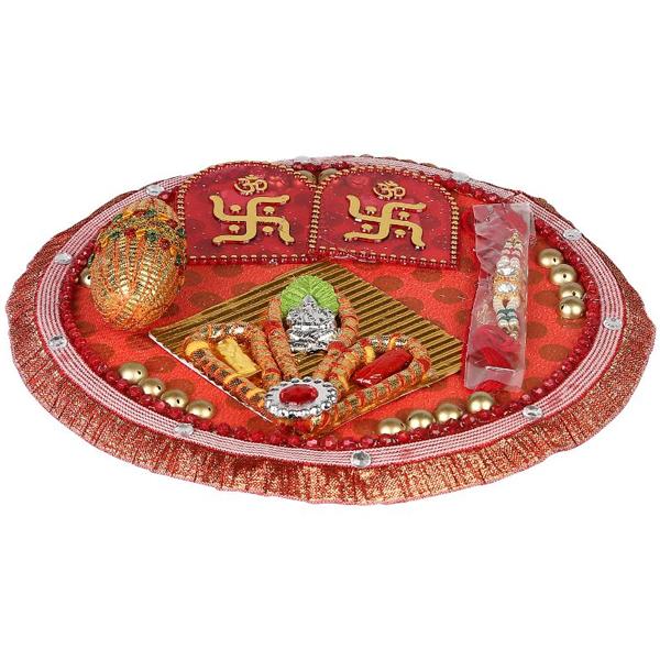 Cosmosgalaxy I3383 Handicraft Rakhi Thali, Red
