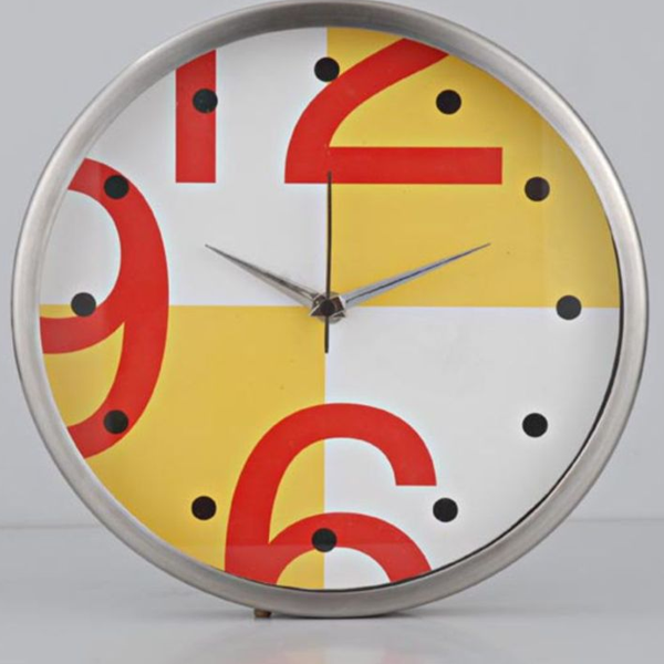 Cosmosgalaxy I2277 Round Designer Stainless Steel and Glass White Linea Wall Clock