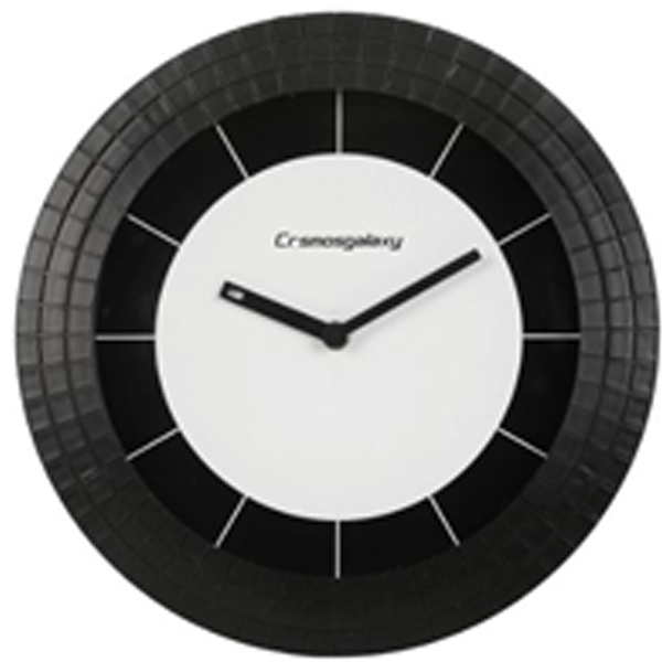 Cosmosgalaxy I3471 Zest Designer Round Plastic Wall Clock, Black