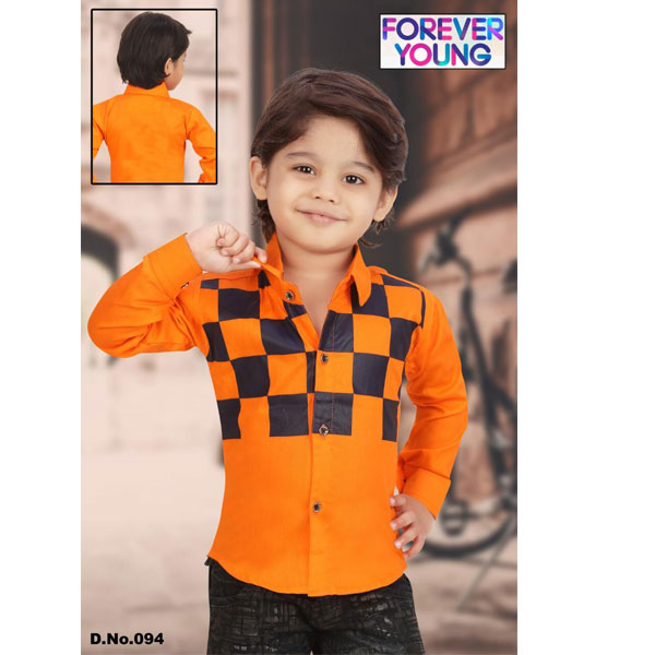CRUNCHY Kids Designer Party Wear Checkered Shirt For Boys