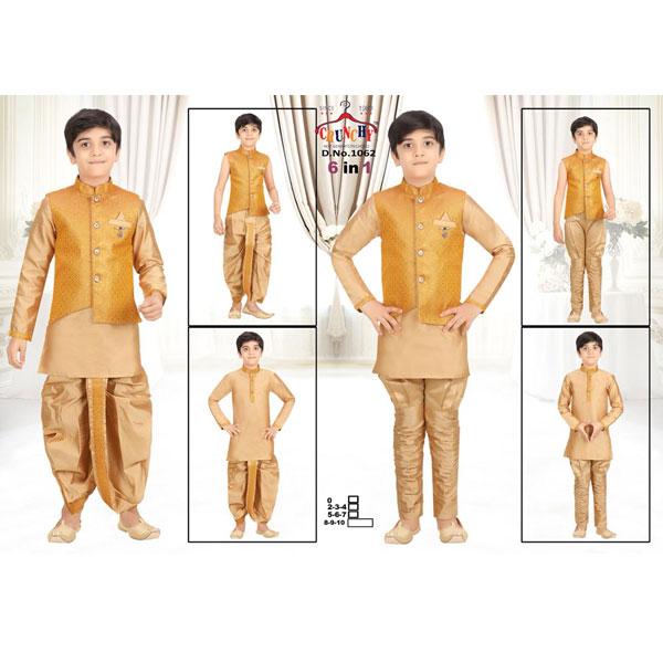 CRUNCHY Kids Ethnic Designer Top Bottom Unique Set For Boys