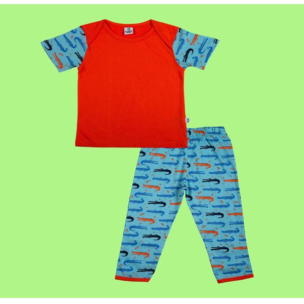 Cuddledoo Croc Society Pyjama Set Night Wear Set Unisex Kids Wear Cotton (Orange)