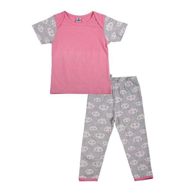 Cuddledoo (CV6S119) Cloudy Cloud Nightwear Set Night Wear Set Cotton Kids Wear (Pink)