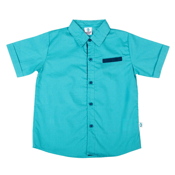 Cuddledoo (CV8S119) Turquoise Mesh Shirt Boy Shirt Cotton (Blue)