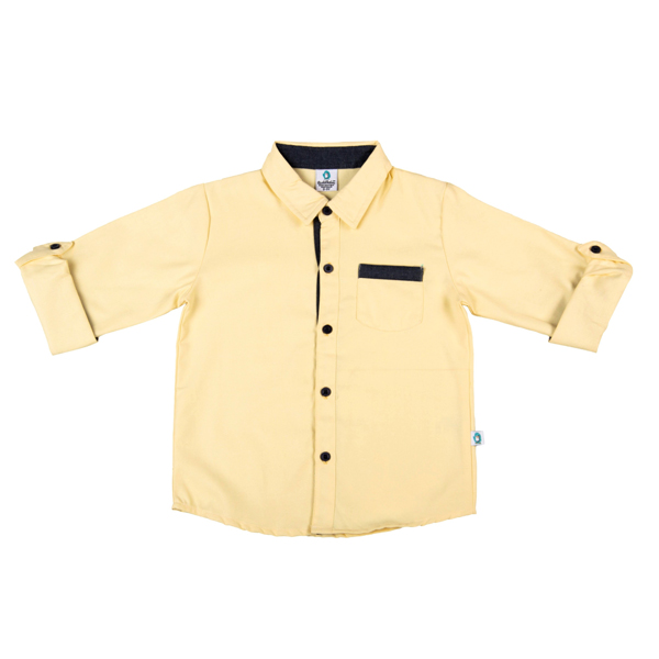 Cuddledoo (CV12S119) Yellow Full Sleeve Boys Shirt Cotton Collar