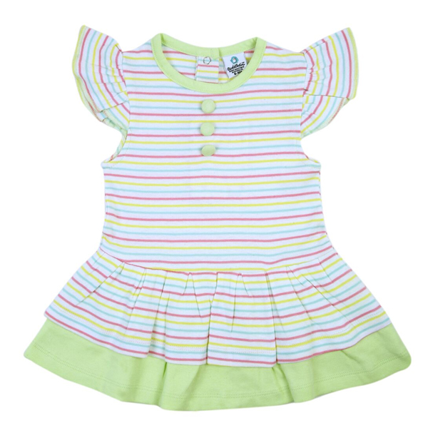 Cuddledoo (CV14S317) Stripy Lemon Green Layered Round Neck Girls Frock