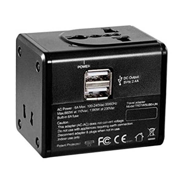 CyberPower TR01WSUB0-UN 2 Port Travel Adaptor (Black)