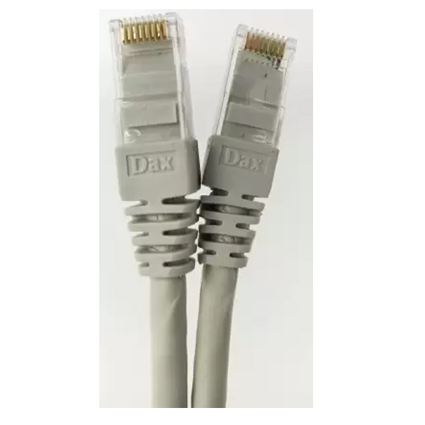 Dax (DX-C06002 - Grey) 2 Metre Cat.6 Patch Cord, 24AWG, Grey color, Moulded Factory Crimped - 100% Bare Copper