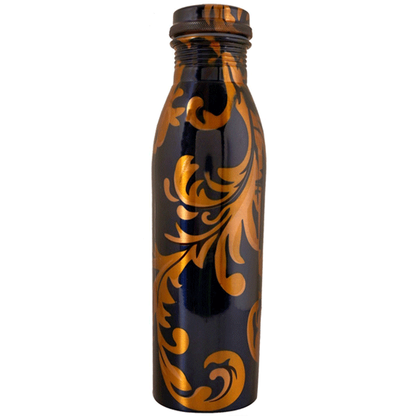 Desiswags Modern Art Printed Ethically Handmade Copper Bottle for Home and Kitchen 1 LTR