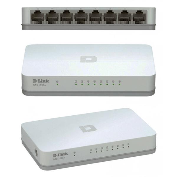 D-LINK DES-1008C 8-Port 10/100 Desktop Switch (White)