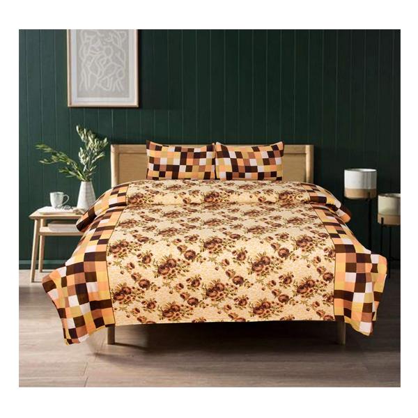 Dream Aura (07YXSWJGJ) Victorian Summer Dream, 100% Polyester Double Bedsheet with 2 Pillow Covers, DA076 (Multi)