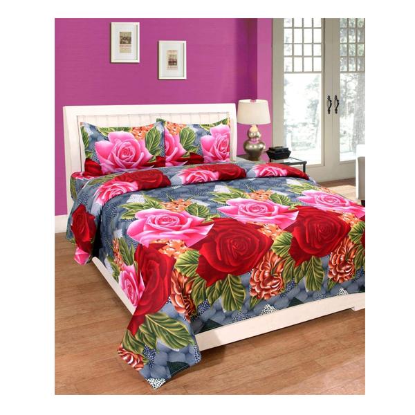 Dream Aura (B07YXS9T5S) Victorian Summer Dream, 100% Polyester Double Bedsheet with 2 Pillow Covers, DA046 (Multi)