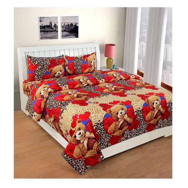 Dream Aura (B07YXS8LQ4) Victorian Summer Dream, 100% Polyester Double Bedsheet with 2 Pillow Covers, DA051 (Multi)