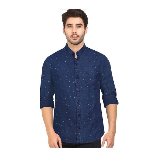 Duff (1673) Men 100% Cotton Casual Shirt Striped (Blue)