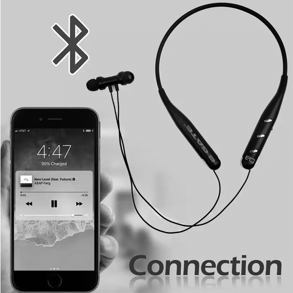 Egate 105 Sports Bluetooth Wireless Earphone Neckband with Hands Free Mic (Silver)