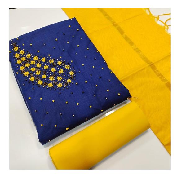 Eleven Trendz Dress Material Top Chanderi with Khatli Work Unstitched ( Multicolor)