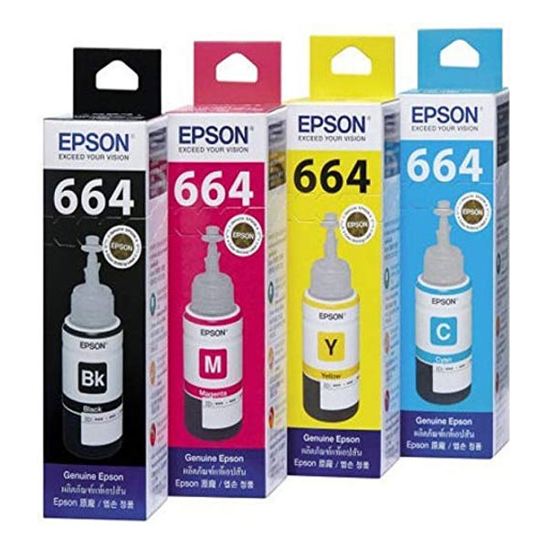 Epson T664 Ink 70 ml Bottle Each (Multicolors)
