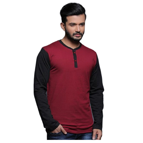 FASHNET (FI00005) Solid Cotton Mandarin Slim Fit Full Sleeve Men's Knitted T-Shirts ( Muticolor)