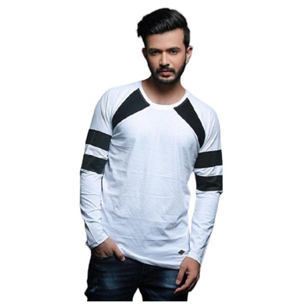 FASHNET (FI00008) Solid Cotton Round Neck Regular Full raglan Sleeve Men's T-Shirt (Multicolor)
