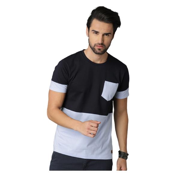 FASHNET (FI00014) Solid Cotton Round Neck Pocket Regular Half Sleeve Men's T-Shirt (Multicolor)