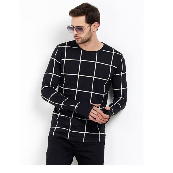 FASHNET (FI00019) Check Cotton Round Neck Slim Fit Full Sleeve Men's Knitted T-Shirt (Black)